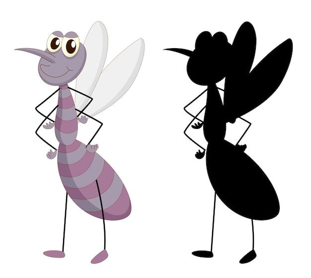 Conjunto de personagem de desenho animado de inseto e sua silhueta