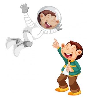 Conjunto de personagem de desenho animado de macaco