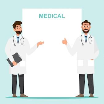 Conjunto de personagem de desenho animado de médico com espaço de cópia