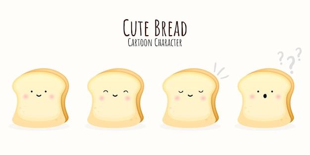 Conjunto de personagem de desenho animado de pão fofo vetor premium