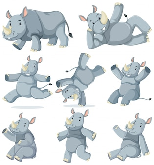Conjunto de personagem de desenho animado de rinoceronte
