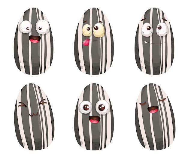 Conjunto de personagem de desenho animado de semente de girassol bonito.