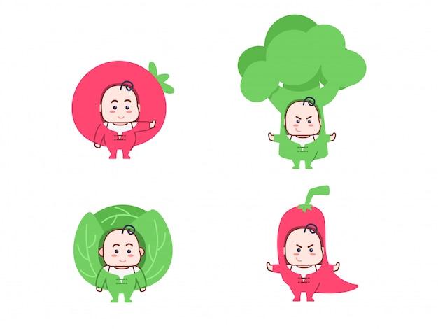Conjunto de personagem de desenho animado de vegetal fofo