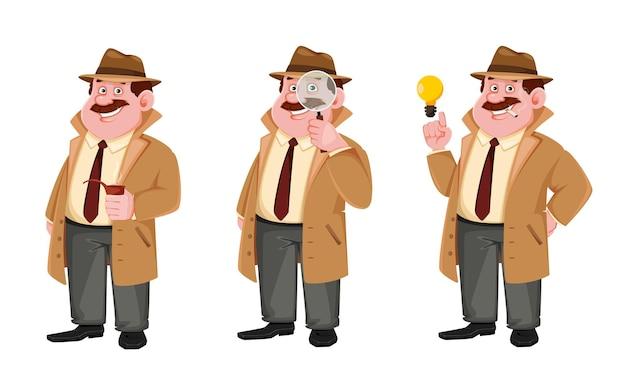 Conjunto de personagem de desenho animado do investigador.