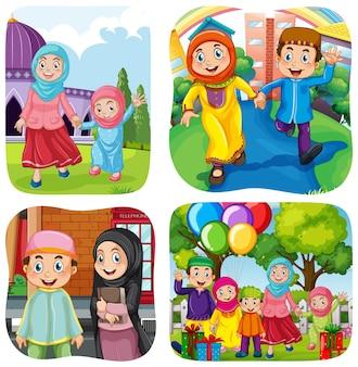 Conjunto de personagem de desenho animado do povo muçulmano em cena diferente
