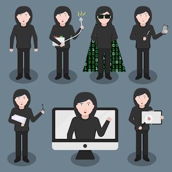 Conjunto de personagem de desenho animado hacker em várias poses e emoções. conceito de proteção, hacking e codificação da internet.