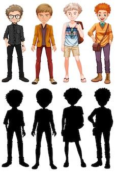 Conjunto de personagem de desenho animado masculino