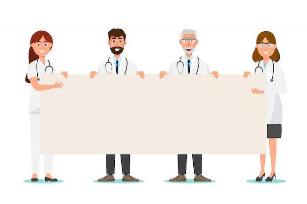 Conjunto de personagem de desenho animado médico com copyspace