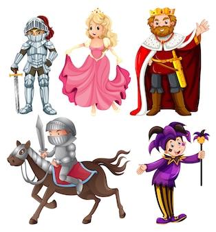 Conjunto de personagem de desenho animado medieval
