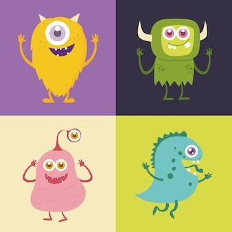 Conjunto de personagem de desenho animado monstro bonito
