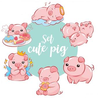 Conjunto de personagem de desenho animado porco bonito