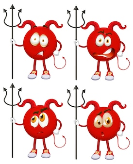 Conjunto de personagem de desenho animado red devil com expressão facial em fundo branco