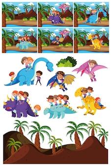 Conjunto de personagem de dinossauro e cena