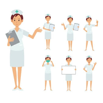 Conjunto de personagem de enfermeira feminina. ilustração pessoal de médico.