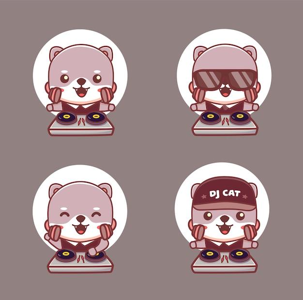 Conjunto de personagem de gato dj fofo usar fones de ouvido e jogando disco jokey. vetor de desenho de mascote