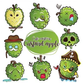 Conjunto de personagem de maçã de creme bonito dos desenhos animados.