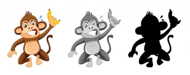Conjunto de personagem de macaco bravo