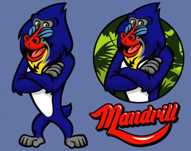 Conjunto de personagem de macaco mandrill dos desenhos animados
