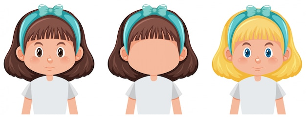 Conjunto de personagem de menina cute