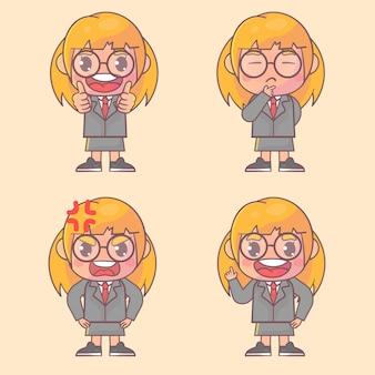Conjunto de personagem de menino bonito de mulher de negócios feliz com muitas expressões de gestos.