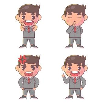 Conjunto de personagem de menino bonito empresário feliz com muitas expressões de gestos.