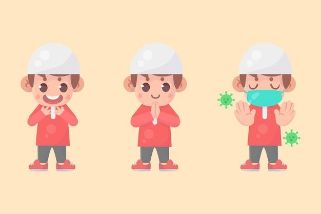 Conjunto de personagem de menino muçulmano fofo e feliz com muitas expressões gestuais