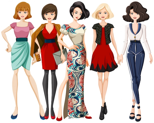 Conjunto de personagem de modelo de moda