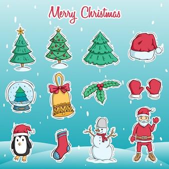 Conjunto de personagem de natal bonito e elementos com estilo doodle colorido na neve