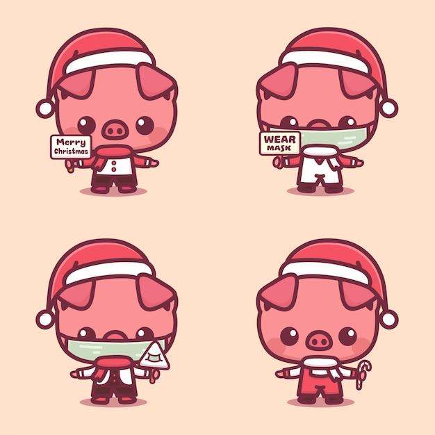 Conjunto de personagem de natal de porco fofo usar proteção de máscara contra coivd-19. ilustração em vetor kawaii cartoon