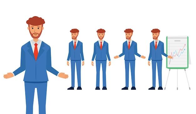 Conjunto de personagem de negócios de corpo inteiro em um terno, homem de negócios explica