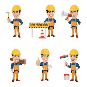 Conjunto de personagem do trabalhador da construção em 6 posições diferentes