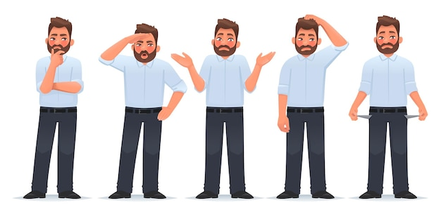 Conjunto de personagem homem em diferentes ações, empresário pensa que pesquisas dão de ombros e mostram bolsos vazios