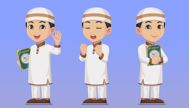 Conjunto de personagem, menino muçulmano, segurando o sagrado alcorão e orando