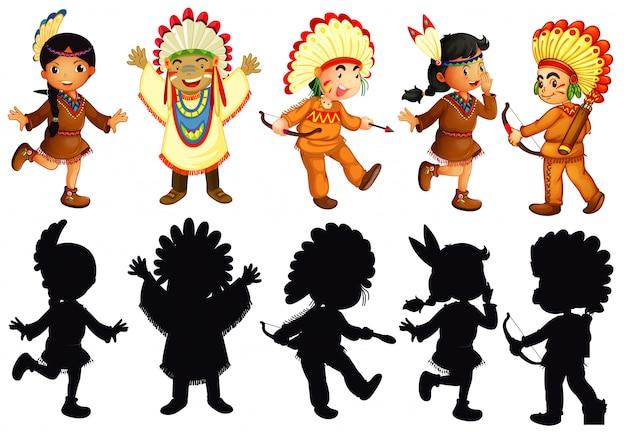 Conjunto de personagem nativo americano
