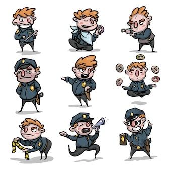 Conjunto de personagem policial fofo e engraçado em situação diferente