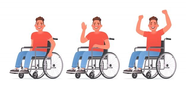 Conjunto de personagem um jovem com deficiência. cara feliz em uma cadeira de rodas. desativado. ilustração vetorial no estilo cartoon