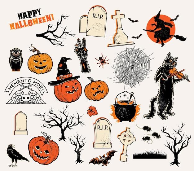 Conjunto de personagens, abóboras, bruxas, silhueta, morcegos, caldeirão, aranhas e gato web com violino