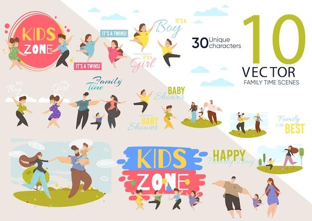 Conjunto de personagens animados bonitos para construção da zona infantil