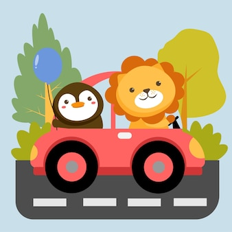 Conjunto de personagens animais com leão no pinguim no carro