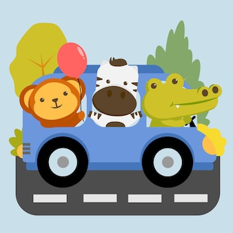 Conjunto de personagens animais com macaco, zebra e crocodilo sentado no carro.