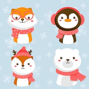 Conjunto de personagens animais com raposa, coelho, pinguim e urso branco