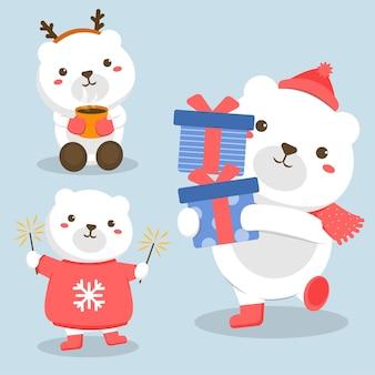Conjunto de personagens animais com urso branco e fogos de artifício