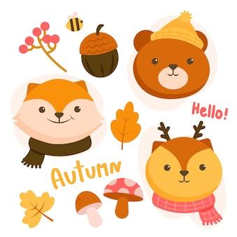 Conjunto de personagens animais com urso, veado e raposa