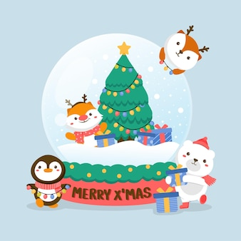 Conjunto de personagens animais com veado, urso branco, pinguim, árvore de natal e caixa de presente em bola de vidro.