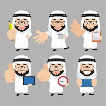 Conjunto de personagens árabes em diferentes poses
