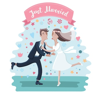 Conjunto de personagens - cerimônia de casamento.
