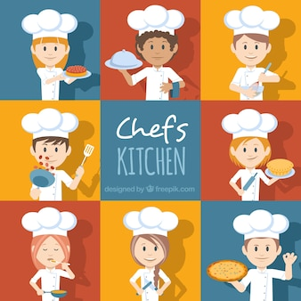 Conjunto de personagens chef com diferentes acessórios