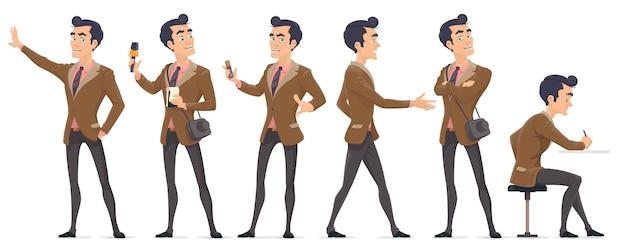 Conjunto de personagens coloridos de repórter de jornalista com diferentes equipamentos profissionais em várias poses isolados