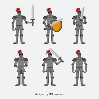 Conjunto de personagens com armaduras e espadas em forma plana