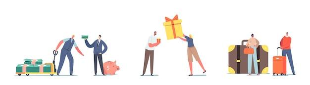 Conjunto de personagens com dinheiro, bagagem e caixa de presente de tamanhos diferentes. homens com pilha enorme de dólares e cofrinho, mulher com bolsa pequena ou grande, menina com presente. ilustração em vetor desenho animado